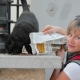 Η Ελένη Κεφαλοπούλου ταϊζει μία αδέσποτη γάτα