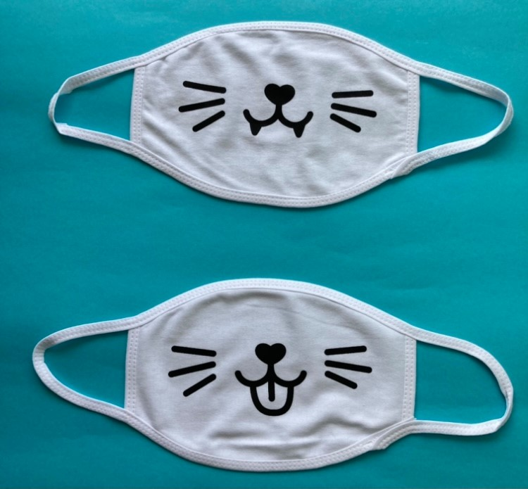 2 of the patterns offered for the new masks for sale by Nine Lives Greece